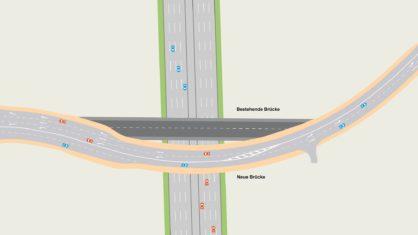 Bestandsbrücke und Neubau der Überführung