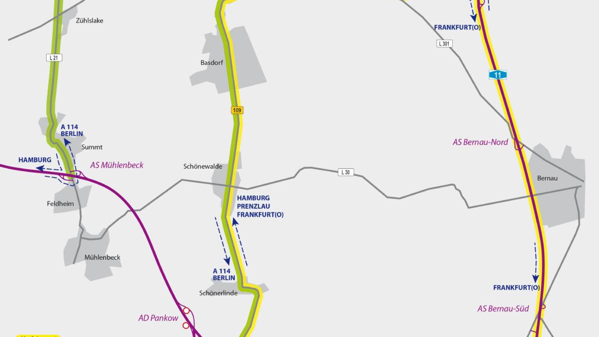 Plan zur Umleitung A 114