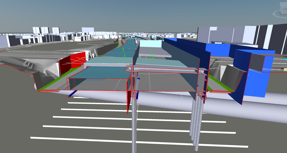 BIM-Modell des Altonatunnels als Computergrafik im Querschnitt