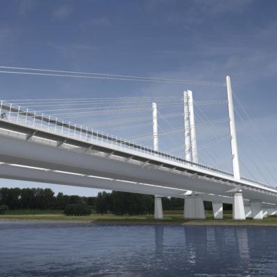 Visualisierung des Ersatzneubaus der Rheinbrücke Duisburg-Neuenkamp aus der Uferperspektive