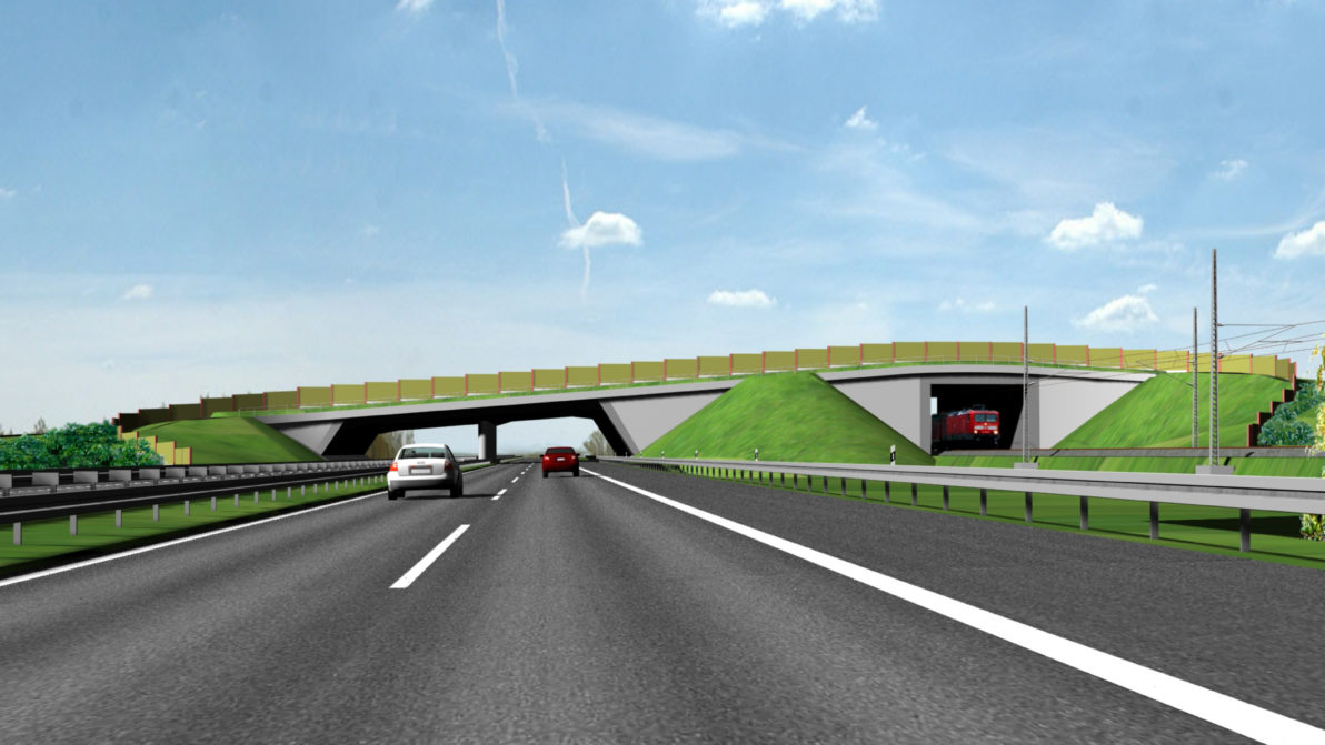 Visualisierung der Grünbrücke über der Autobahn