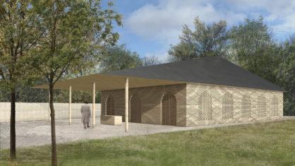Visualisierung des Wasch- und Gebetshauses in beigen Klinker und Vordach