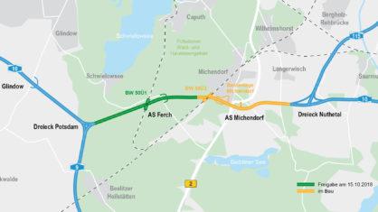 Überblickskarte zum Ausbau der A 10