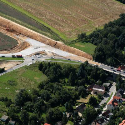 Luftbild B 96: Neuer Abzweig zur Schliebenstraße und Jordanbrücke