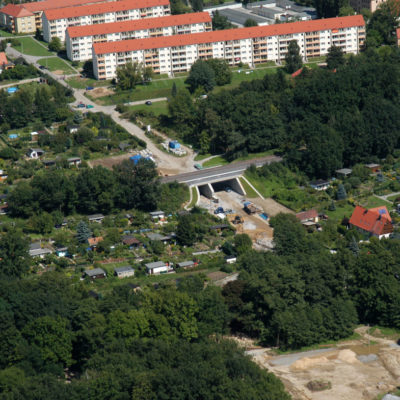 Luftbild B 96: Neue Bahnbrücke