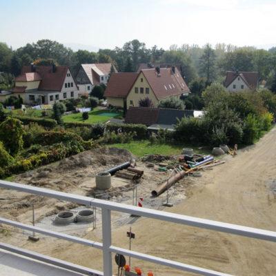 Baubereich Leitungsverlegung Daimlerstraße Blickrichtung Stiebitzbach