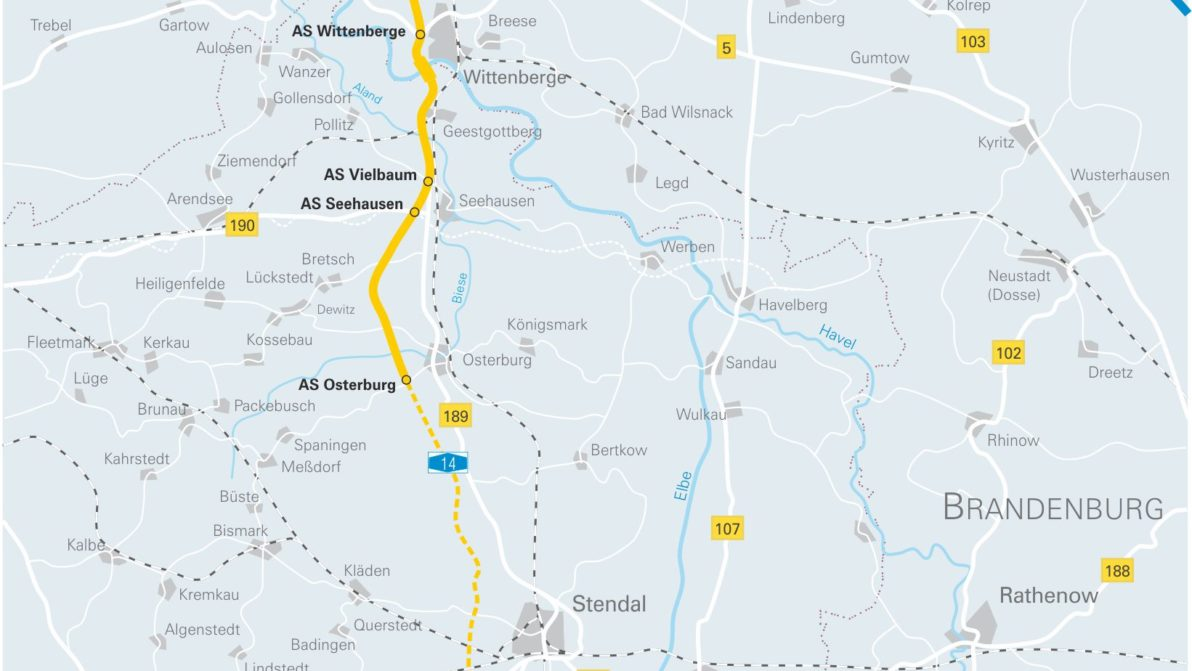 Streckenführung A14 Karte