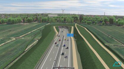 Visualisierung: Blick auf das Südportal des Weser Tunnels