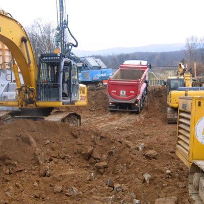 Aushubarbeiten Tunnelbaustelle Daimlerstraße