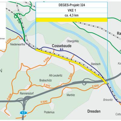 Projektkarte B 6 Dresden Cossebaude