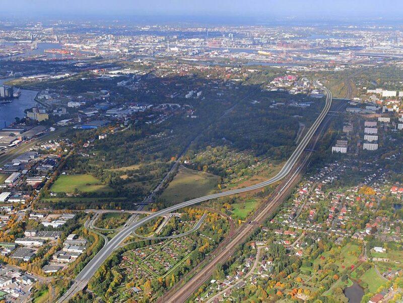 der neue Trassenverlauf der Wilhelmsburger Reichsstraße