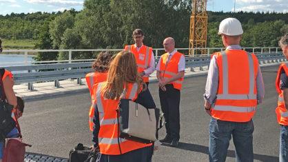 Pressetermin auf der Petersdorfer Brücke