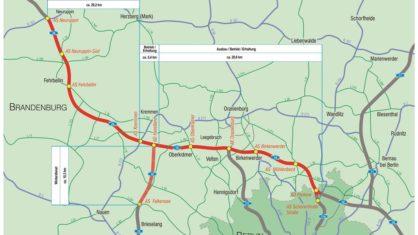 Eine Karte der Projektsstrecke nördlich von Berlin