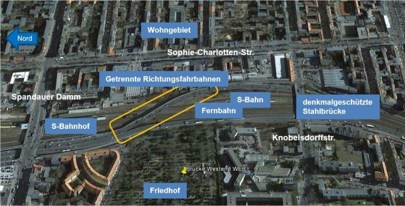 Lagekarte mit Erläuterung Westendbrücke