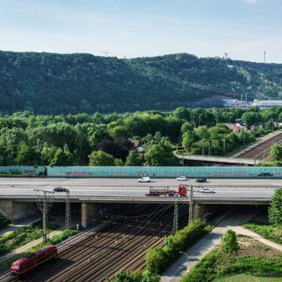 Luftaufnahme der alten Brücke Hengstey