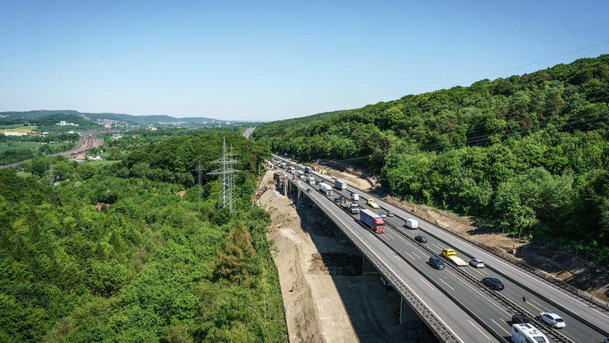 Luftbild der Bestandsbrücke Volmarstein