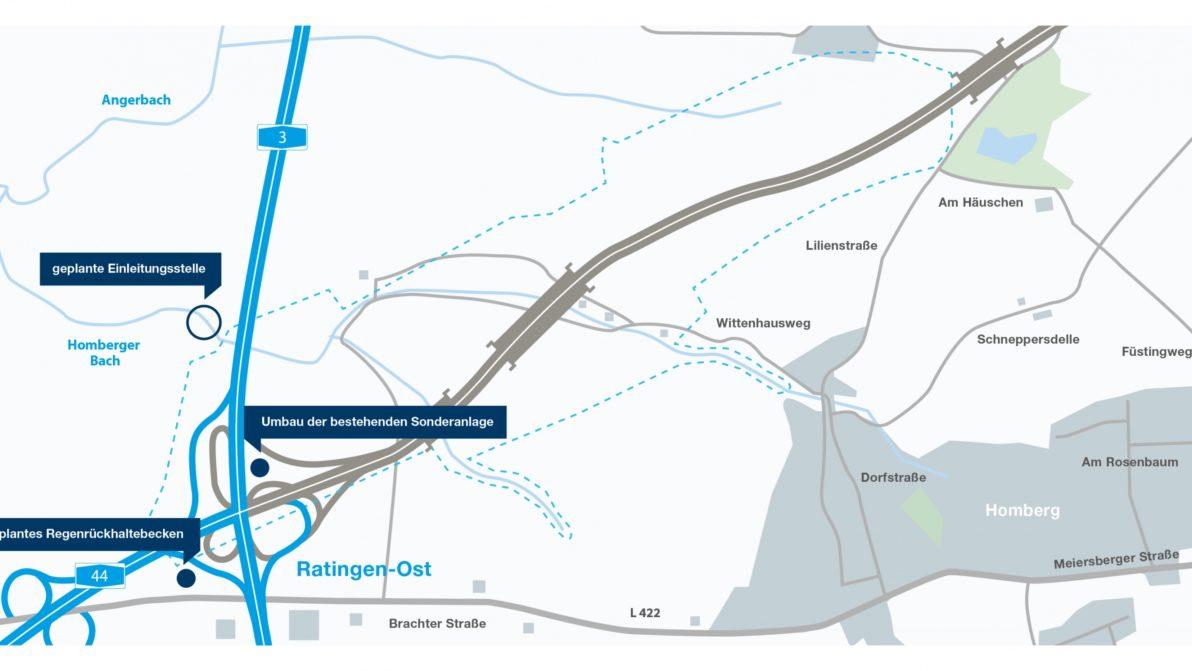 Darstellung der angepassten Pläne für das Regenrückhaltebecken
