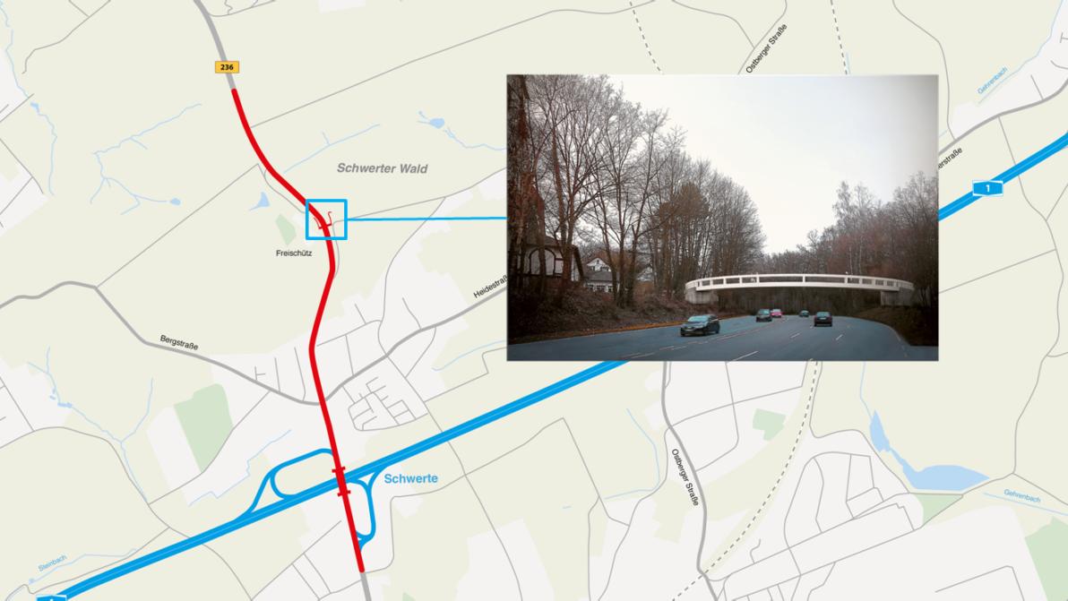Ausbaustrecke und Visualisierung der Fußgängerbrücke