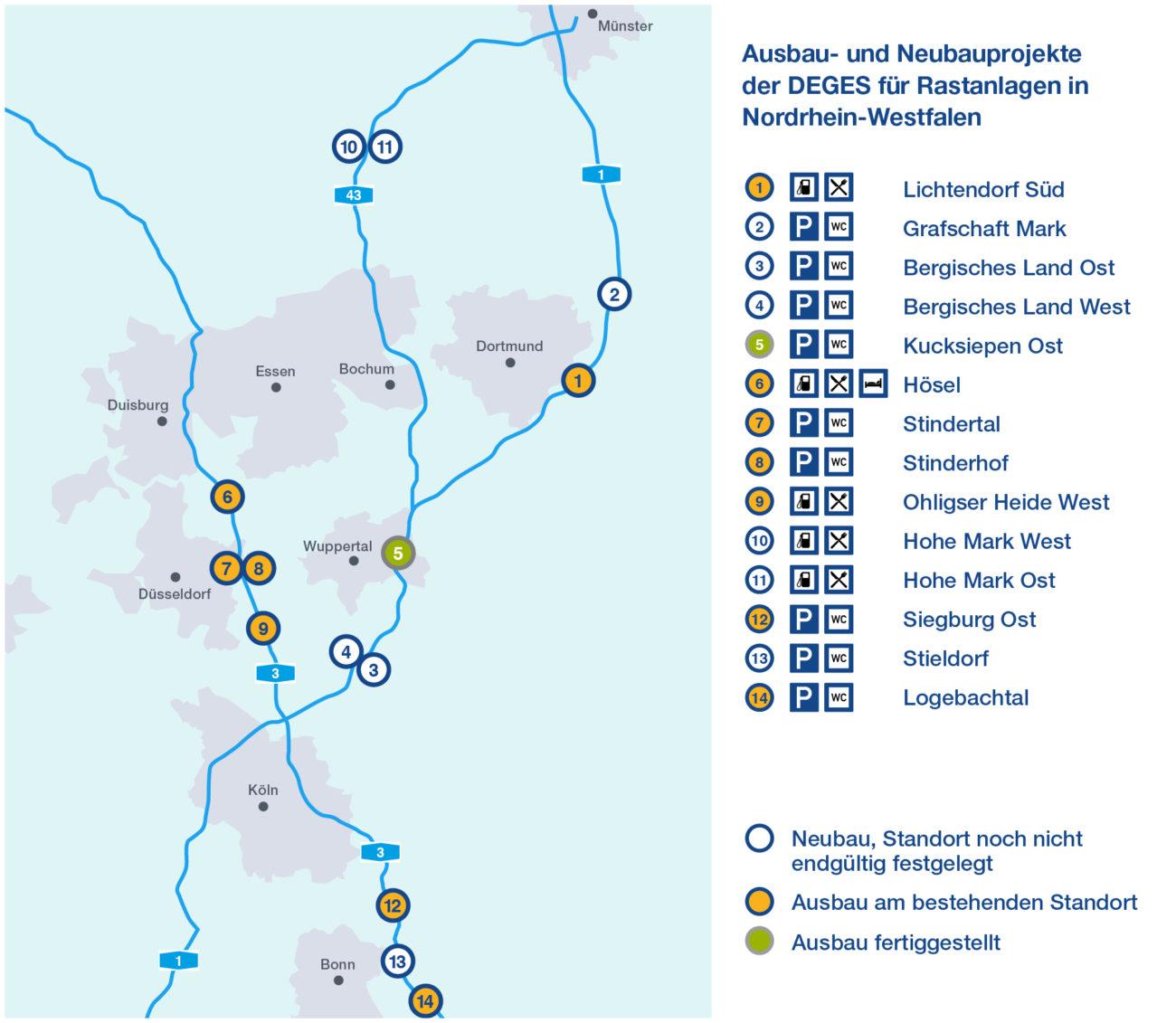 Übersichtskarte aller NRW-Rastplatz-Projekte