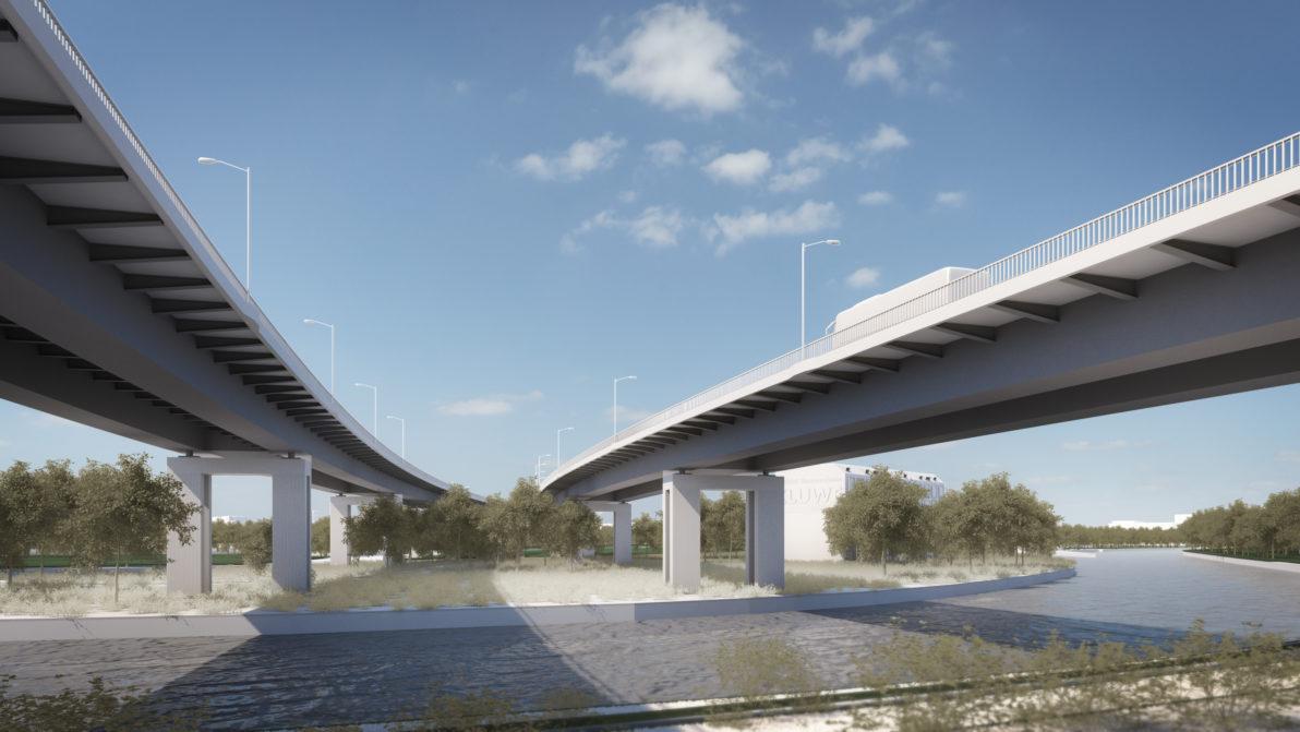 Eine Visualisierung des Siegerentwurfs zum Ersatzbau der Rudolf-Wissell-Brücke in Berlin