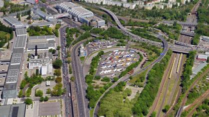 Luftaufnahme des Autobahndreiecks Funkturm