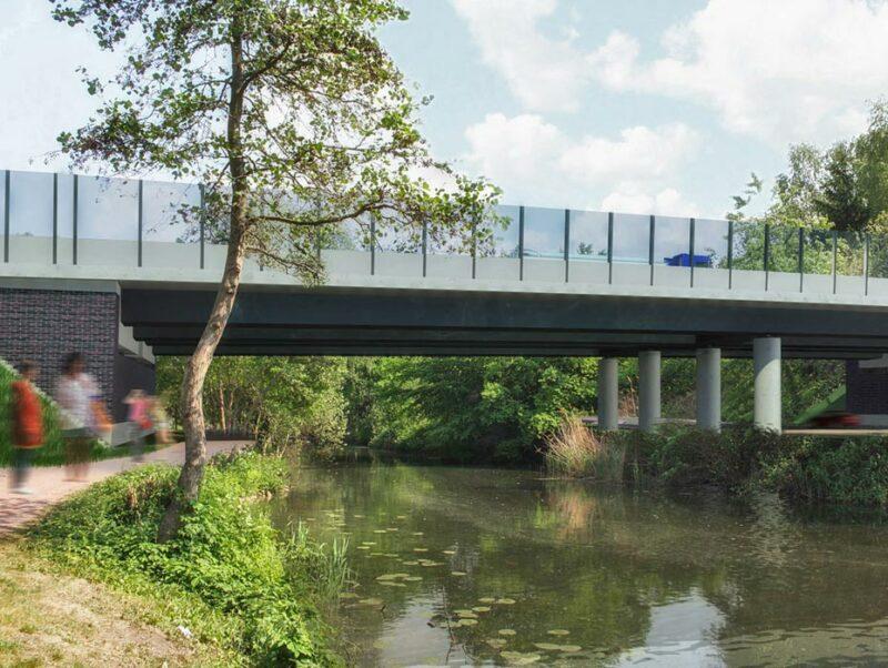 Transparente Lärmschutzwände an der Brücke am Ernst-August-Kanal