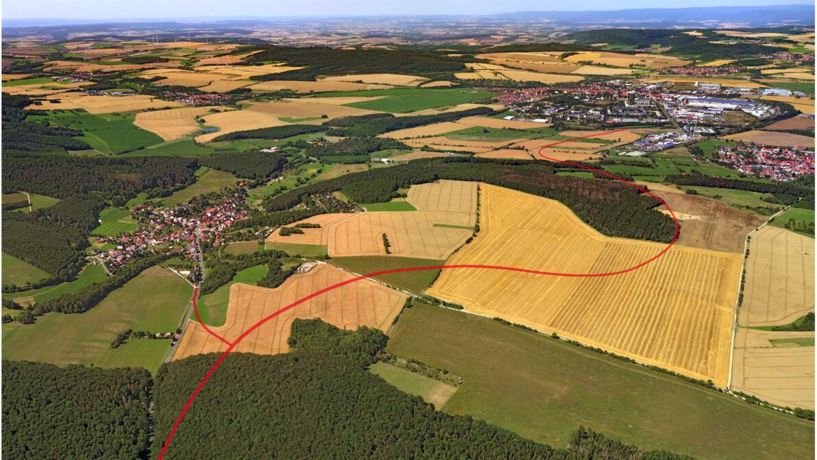 geplanter Trassenverlauf der Ortsumgehung Kallmerode