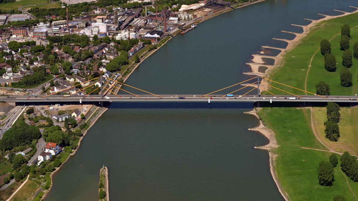 Die alte Rheinbrücke aus der Vogelperspektive