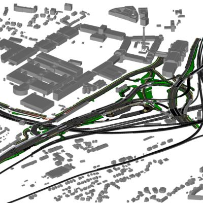 Visualisierung Umbau Autobahndreieck Funkturm A 100 in Berlin