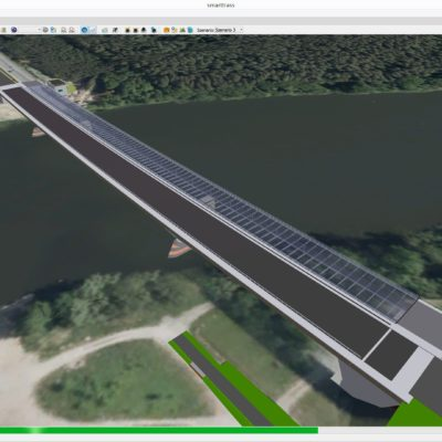 Computermodell Petersdorfer Brücke im Satellitenbild