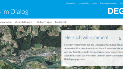 Screenshot der Website www.a98-im-dialog.de