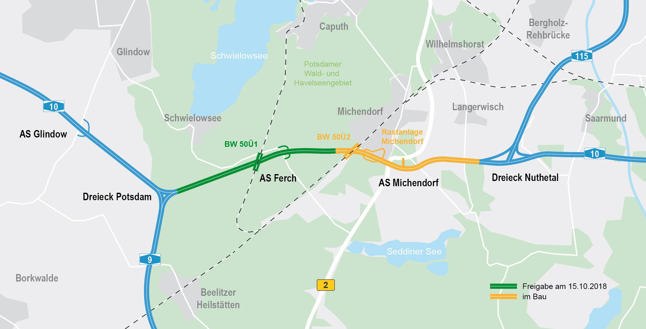 Übersichtskarte A 10 südlicher Berliner Ring