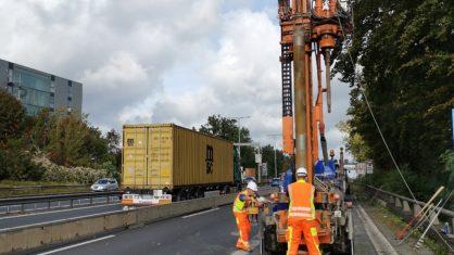 Baugrunduntersuchung an der Rudolf-Wissell-Brücke im Oktober 2019