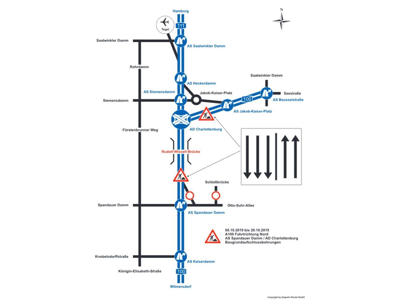 Schematische Darstellung der Verkehrseinschränkungen auf der A 100 im Oktober 2019