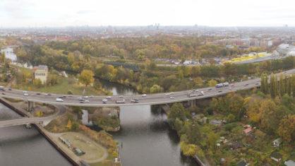 Luftaufnahme der Rudolf-Wissel-Brücke
