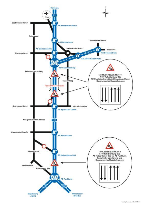 Schematische Darstellung der Verkehrseinschränkungen auf der A 100 im November 2019
