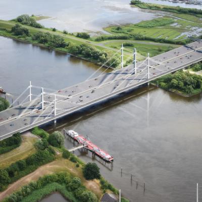 Eine Visualisierung der zukünftigen Norderelbbrücke aus der Luft