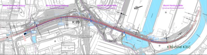 Übersichtskarte zur Hochstraße Elbmarsch (K 20) und Einfahrrampe Elbtunnel (K 30)