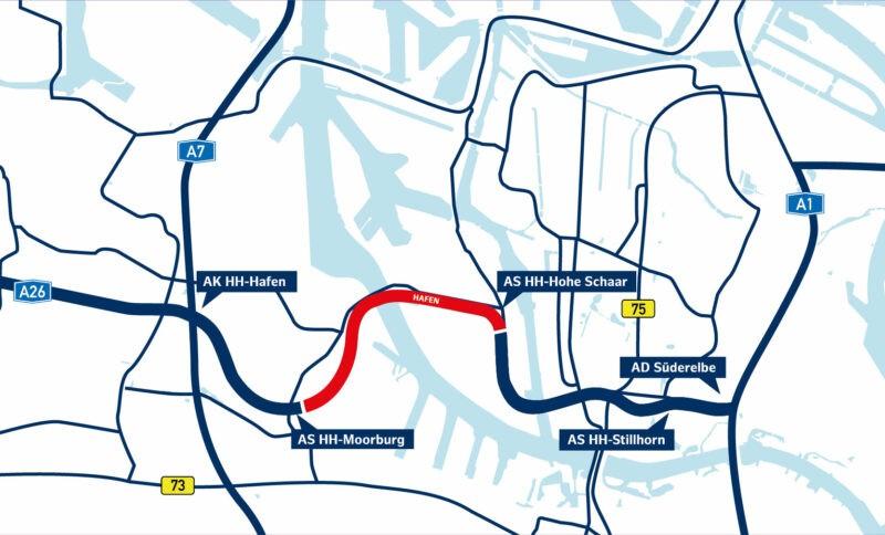 Karte der A 26 Ost, rot markiert ist der Abschnitt Hafen