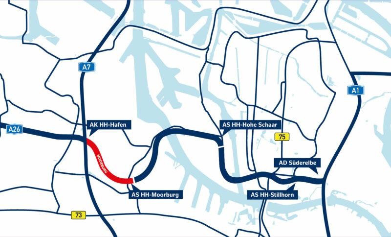 Karte der A 26 Ost, Abschnitt Moorburg ist markiert