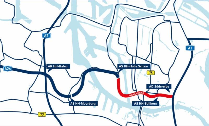 Karte der A 26 Ost, markiert ist der Abschnitt Wilhelmsburg