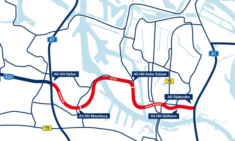 Aktuelle Karte zu Streckenverlauf A 26 Hamburg