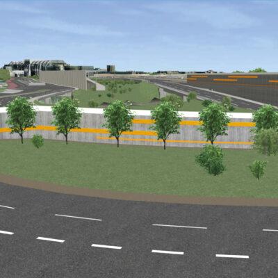 Vorzugsvariante für den Umbau des Autobahndreiecks Funkturm | Ansicht aus dem 3D-Modell | neue Anschlussstelle Messedamm aus Blickrichtung Eichkampsiedlung