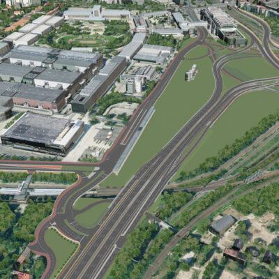 Vorzugsvariante für den Umbau des Autobahndreiecks Funkturm | Ansicht aus dem 3D-Modell | Vogelperspektive Blickrichtung Nord