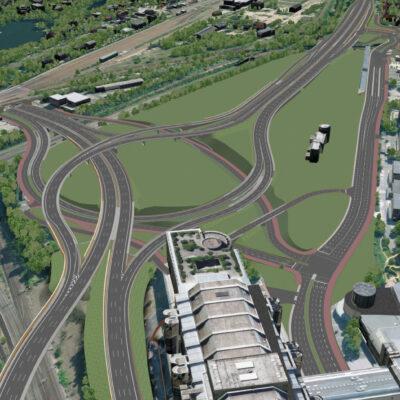 Vorzugsvariante für den Umbau des Autobahndreiecks Funkturm | Ansicht aus dem 3D-Modell | Vogelperspektive Blickrichtung Süd-Ost