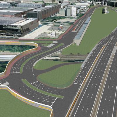 Vorzugsvariante für den Umbau des Autobahndreiecks Funkturm | Ansicht aus dem 3D-Modell | Vogelperspektive neue Anschlussstelle Messedamm