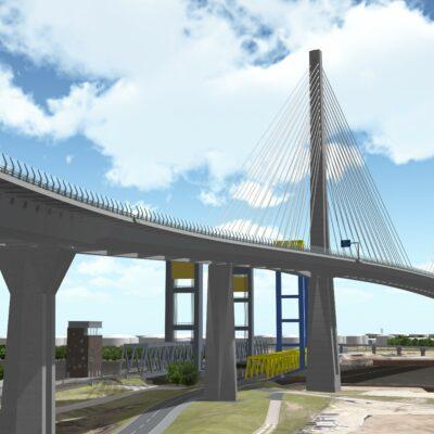 Ansicht der geplanten Süderelbbrücke aus südlicher Richtung