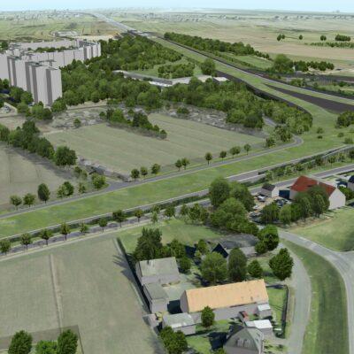 Ansicht des Autobahndreiecks an der A 1 mit Galerie