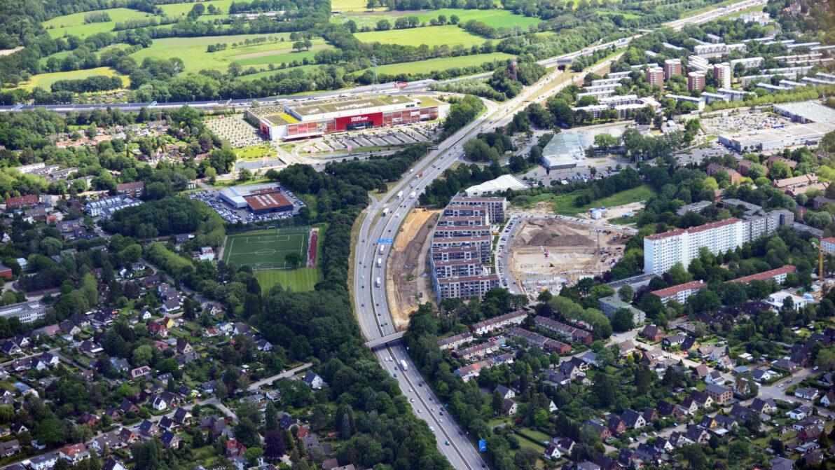 Luftbildaufnahme der A 23