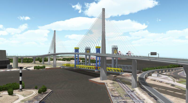 Ansicht der neuen Süderelbbrücke aus östlicher Richtung. Im Hintergrund die alte und die neue Kattwykbrücke